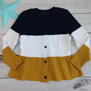 Ann Taylor color block peplum cardigan sweater